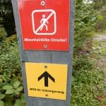 Mountain Biker Schild auf der Halde Hoheward
