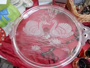 Tortenplatte mit Schwanenpaar - Trödeln für Aegina